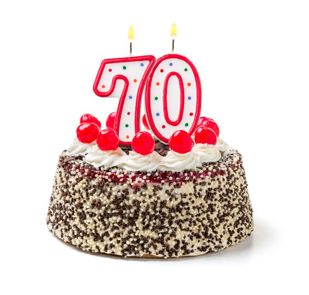 seventieth: Birthday cake with burning candle number 70