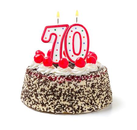 meses del a  ±o: Torta de cumpleaños con vela encendida número 70