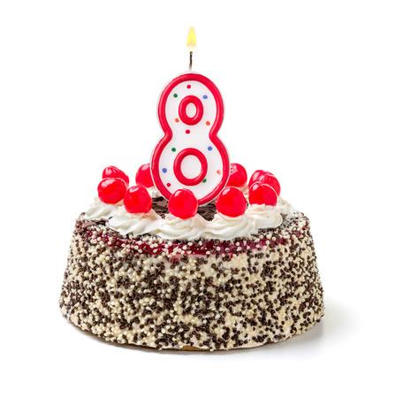 燃えるろうそくの数 8 で誕生日ケーキ 写真素材 - 32503926