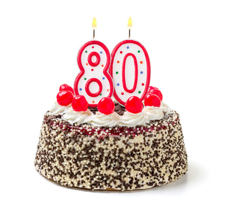 80 years: Birthday cake with burning candle number 80 Stock Photo