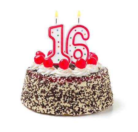 number 16: Birthday cake with burning candle number 16