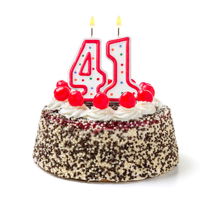 Birthday cake with burning candle number 41 Stock Photo