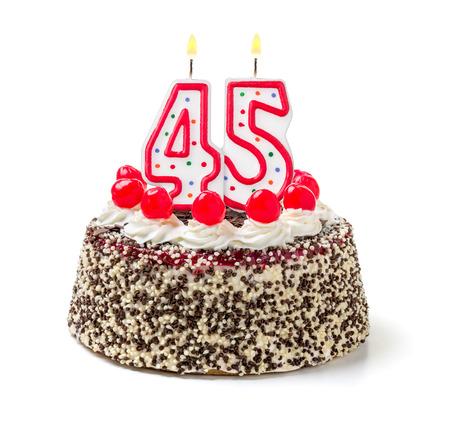 Birthday cake with burning candle number 45 photo