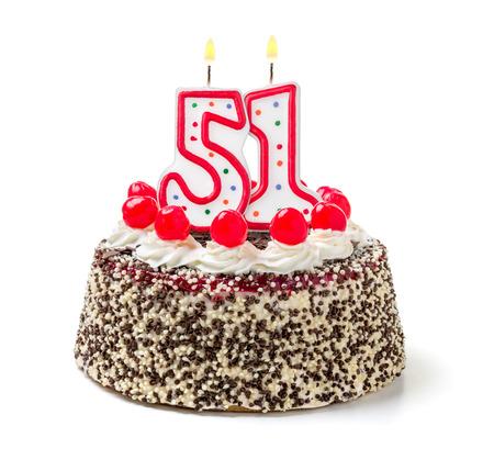 Birthday cake with burning candle number 51 photo