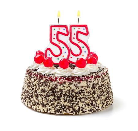 Birthday cake with burning candle number 55 photo