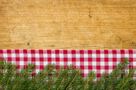 Wooden background with fir green photo