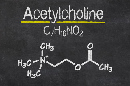 acetylcholine: Blackboard with the chemical formula of Acetylcholine