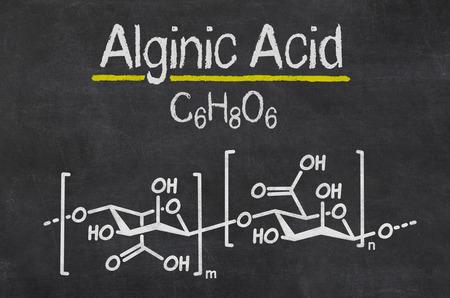 emulsifier: Blackboard with the chemical formula of Alginic Acid