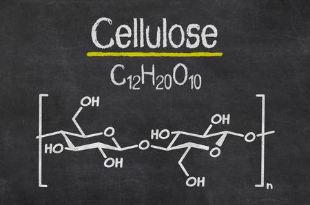 celulosa: Pizarra con la fórmula química de la celulosa