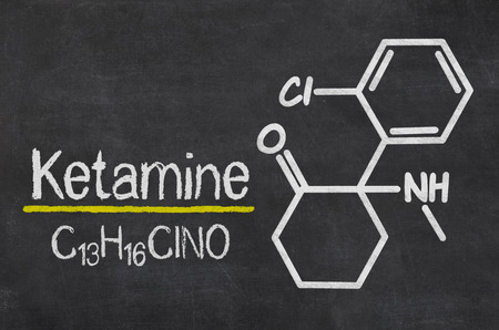 Blackboard with the chemical formula of Ketamine