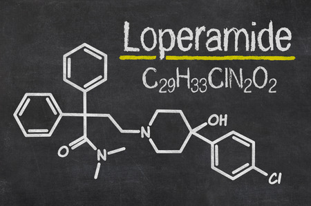 diarrhoea: Blackboard with the chemical formula of Loperamide
