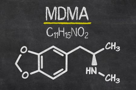 mdma: Blackboard with the chemical formula of MDMA Stock Photo