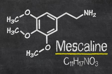 mescaline: Blackboard with the chemical formula of Mescaline Stock Photo