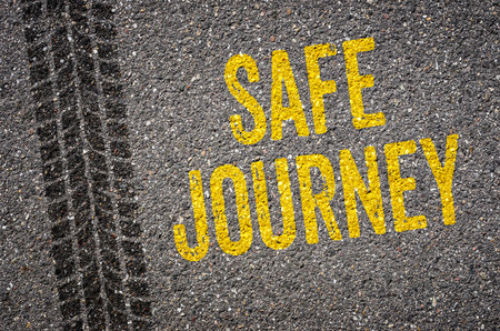 safe driving: Lane with the text Safe journey