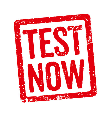 shareware: Red Stamp - Test now Stock Photo