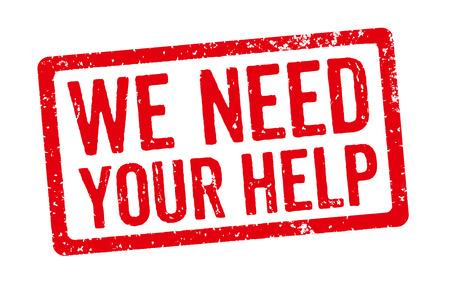 aide à la personne: Stamp Rouge - Nous avons besoin de votre aide Banque d'images