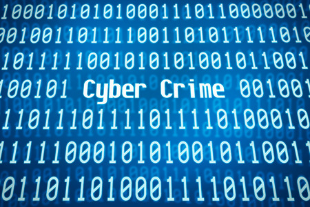Binary code with the word Cyber Crime in the center photo
