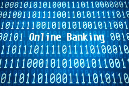 transactions: Binary code with the word Online Banking in the center Stock Photo