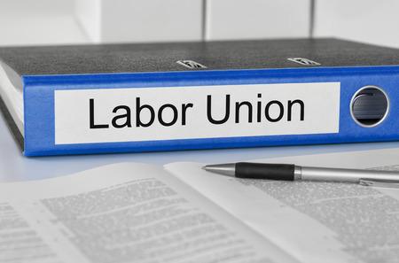 human representation: Folder with the label Labor Union Stock Photo