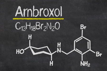 cough syrup: Blackboard with the chemical formula of Ambroxol Stock Photo