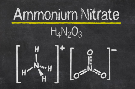 ammonium: Blackboard with the chemical formula of Ammonium Nitrate
