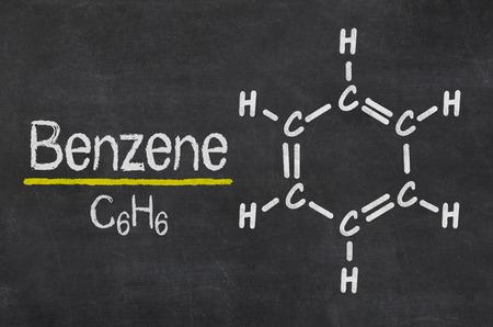 Blackboard with the chemical formula of Benzene