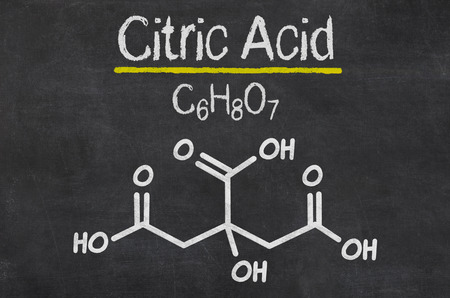 citric: Blackboard with the chemical formula of Citric Acid