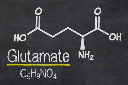 glutamate: Blackboard with the chemical formula of Glutamate