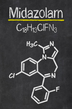 benzodiazepine: Blackboard with the chemical formula of Midazolam Stock Photo