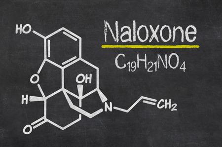 antidote: Blackboard with the chemical formula of Naloxone
