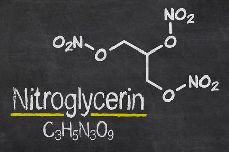 nitroglycerin: Blackboard with the chemical formula of Nitroglycerin Stock Photo