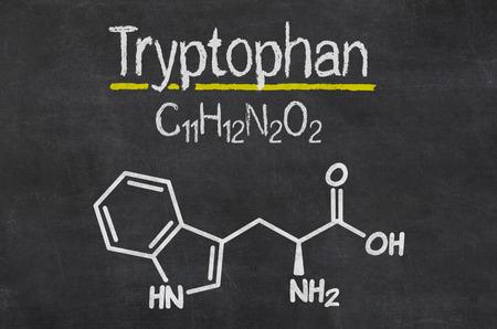 트립토판 화학 화학식의 칠판 스톡 콘텐츠