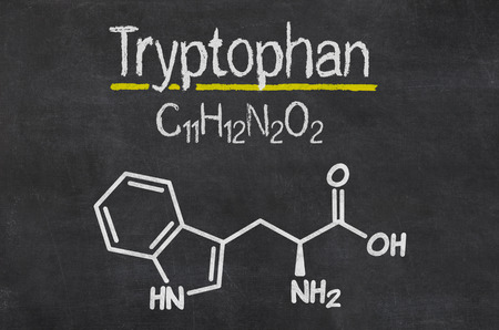 Blackboard with the chemical formula of Tryptophan
