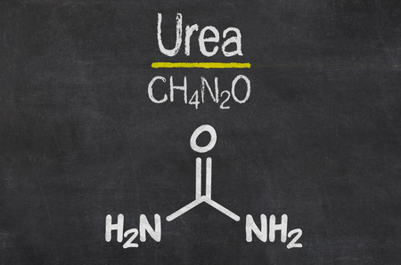 urea: Blackboard with the chemical formula of Urea