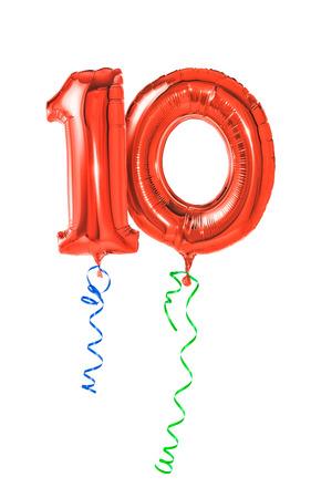 numero diez: Globos rojos con la cinta - Número 10 Foto de archivo