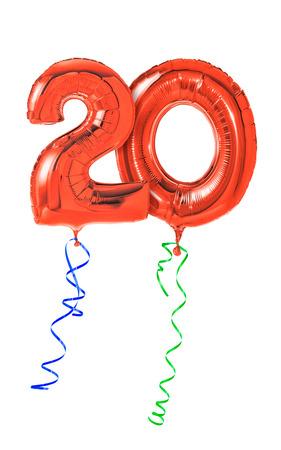 numeros: Globos rojos con la cinta - N�mero 20 Foto de archivo