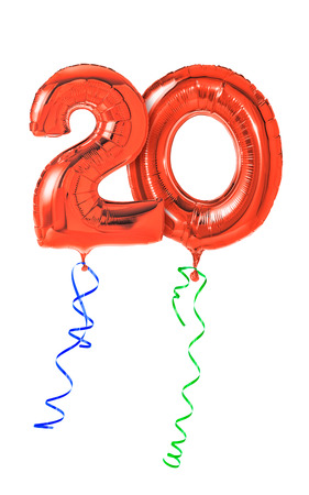 20th: Red balloons with ribbon - Number 20
