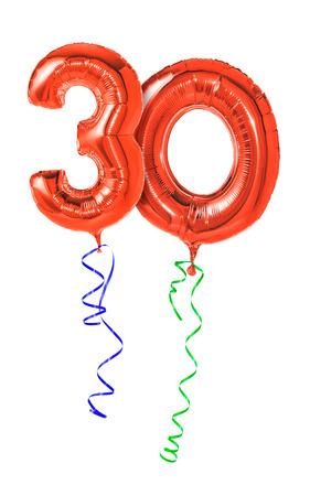 リボン - 数 30 赤い風船 写真素材 - 33718033