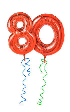 80th: Red balloons with ribbon - Number 80