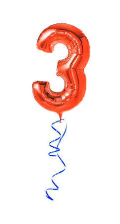 third age: Red balloon with ribbon - Number 3