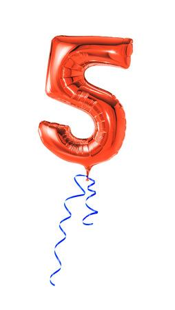 compleanno: Palloncino rosso con nastro - Numero 5