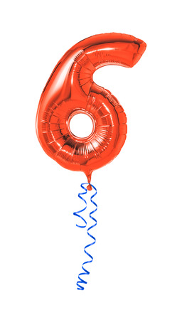 sixth: Red balloon with ribbon - Number 6