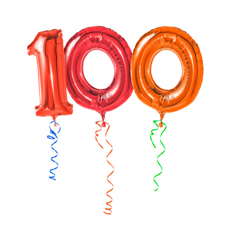 number card: Red balloons with ribbon - Number 100