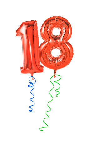 18th: Red balloons with ribbon - Number 18