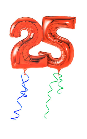 25: Red balloons with ribbon - Number 25