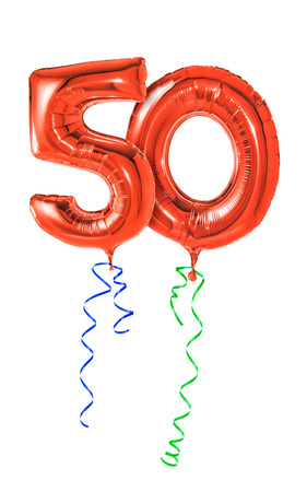 party balloons: Red balloons with ribbon - Number 50 Stock Photo