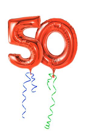 Rode ballonnen met lint - Nummer 50 Stockfoto