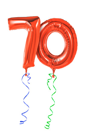 seventieth: Red balloons with ribbon - Number 70