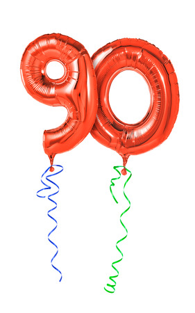 happy 3d: Red balloons with ribbon - Number 90
