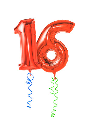 number 16: Red balloons with ribbon - Number 16 Stock Photo